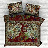 Sophia Art Indian Tree Of Life Cotton Queen Duvet Cover Quilt Cover Bohemian Hippie Bedspread Quilt Handmade Duvet Cover With Pilow Cover (Green)