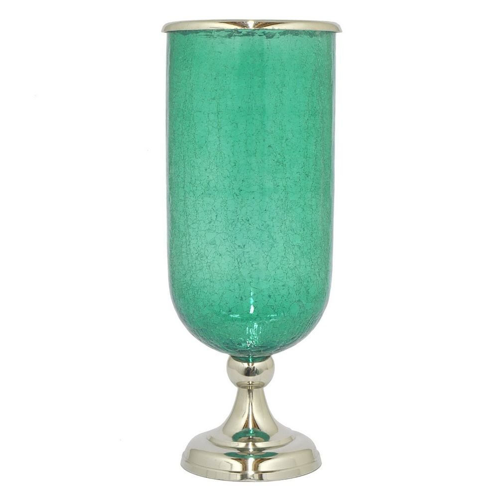 Benzara HRT-28551 Glass 21.5'' Hurricane With Nickel