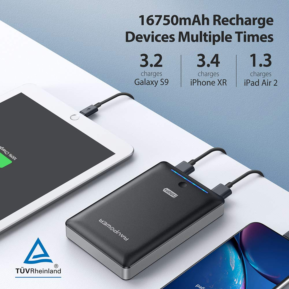 Battery Pack RAVPower 16750mAh Power Bank Portable Phone Charger with  iSmart Technology for iPhone XR XS MAX, Galaxy S9 / S8 and more Mobile  Phones -