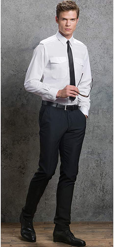 Camisa de piloto de manga larga Modelo Pilot hombre Caballero Kuston Kit Cuello 40cm//Blanco