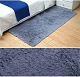 Sytian 23.62x47.24 Inch Ultra Soft 4.5cm Thick Indoor Morden Shaggy Area Rugs Pads Non Slip Absorbent Bedroom Livingroom Sitting-room Mat Rug Carpet Fashion Color Home Decorate Rug (Purple Grey)