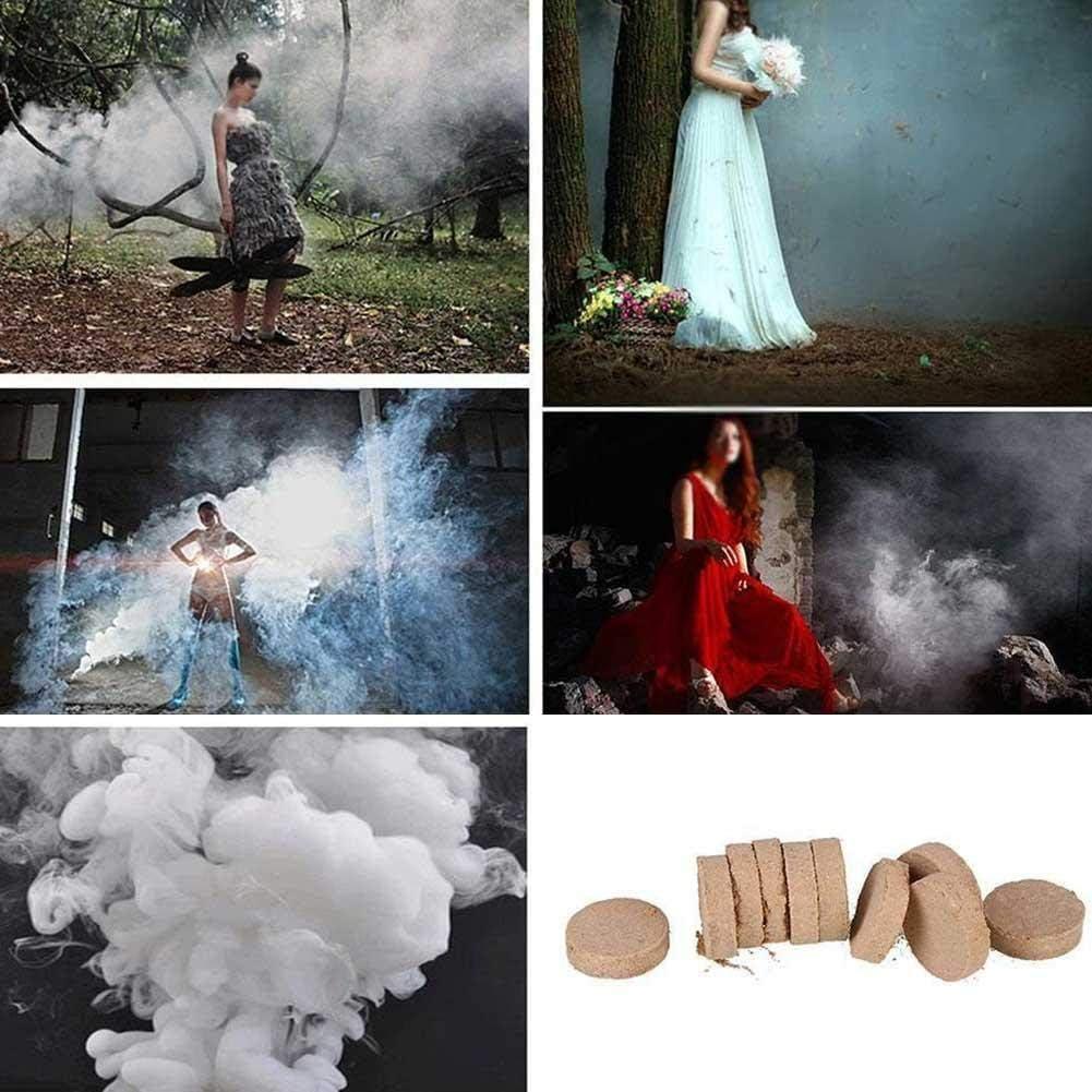 CHRISTY HARRELL 50 pastillas de humo de combustión blanca para tartas, juguetes de ayuda para humo, torta de humo, color blanco