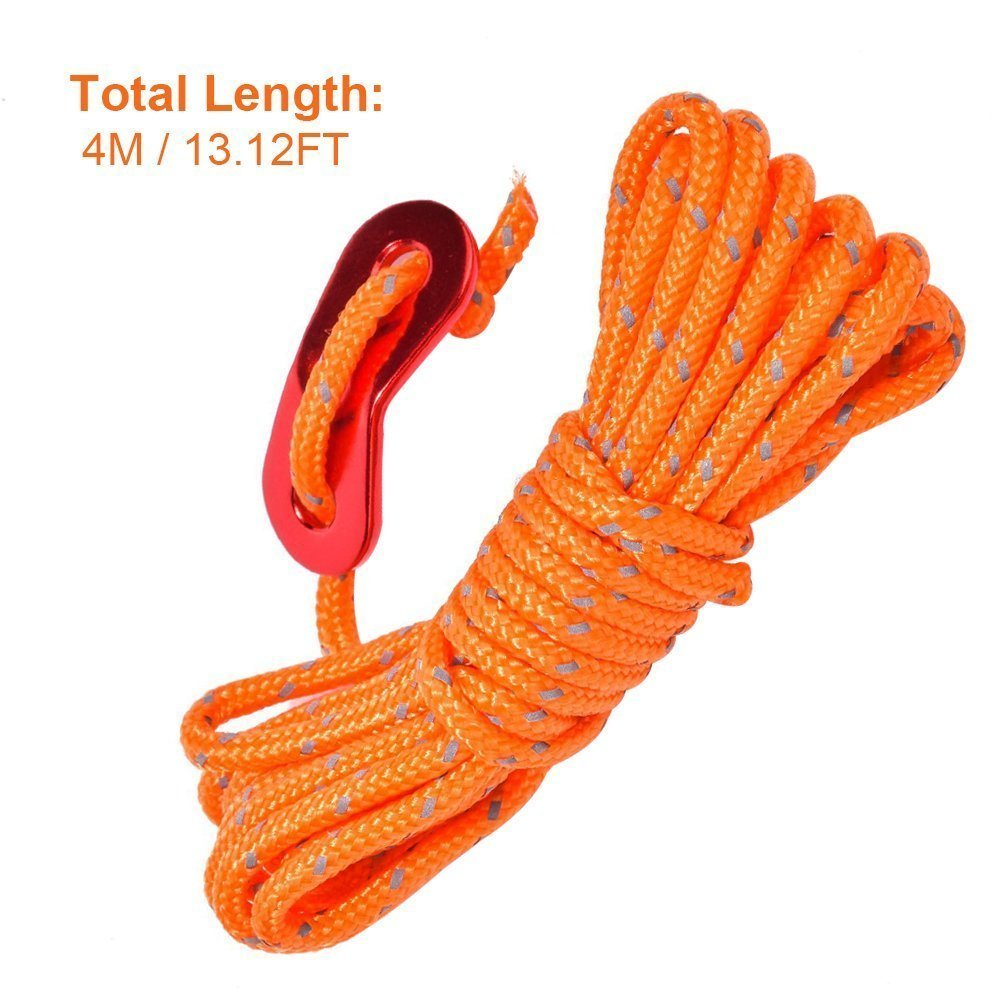 LIHAO 6PCS Reflective Tent Guide Rope with Aluminum Adjuster, Guy Line Cord - Orange