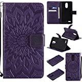 Cheap LG Stylo 3/LG Stylo 3 Plus Case Cover,SMYTU Premium Emboss Sunflower Flip Wallet Shell PU Leather Magnetic Cover Skin with Wrist Strap Case for LG Stylo 3/LG Stylo 3 Plus(Purple)
