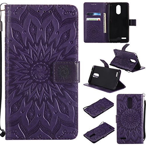 LG Stylo 3 Wallet Case, LG Stylus 3 Case, Urberry Embossed PU Leather Magnetic Flip Cover Card Holders & Hand Strap Wallet Purse Case for LG Stylo 3 Plus LS777 (Purple)