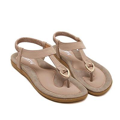 ????Sandales Binggong Femmes Plates Boheme Sandales Mode Été Flat Grande Taille Sandales Décontractée Sandales Plage Chaussures Pas Cher