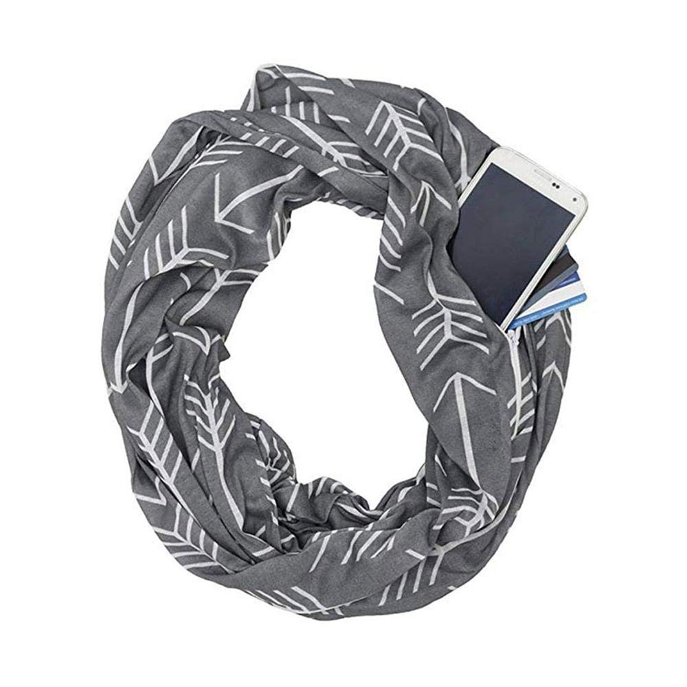 KOBWA Infinity Scarf Convertible, Lightweight Travel Scarf with Hidden Zipper Pocket, Pop Fashion Arrow Pattern Wrap Scarf for Men Women Unisex