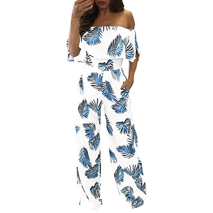 a4fb6ee612 Halijack Jumpsuit for Women Ladies Summer Floral Leaf Printed Sparkly Off  Shoulder Playsuits Loose Casual Wide Leg Long Pants Party Beach Onepiece  Romper ...