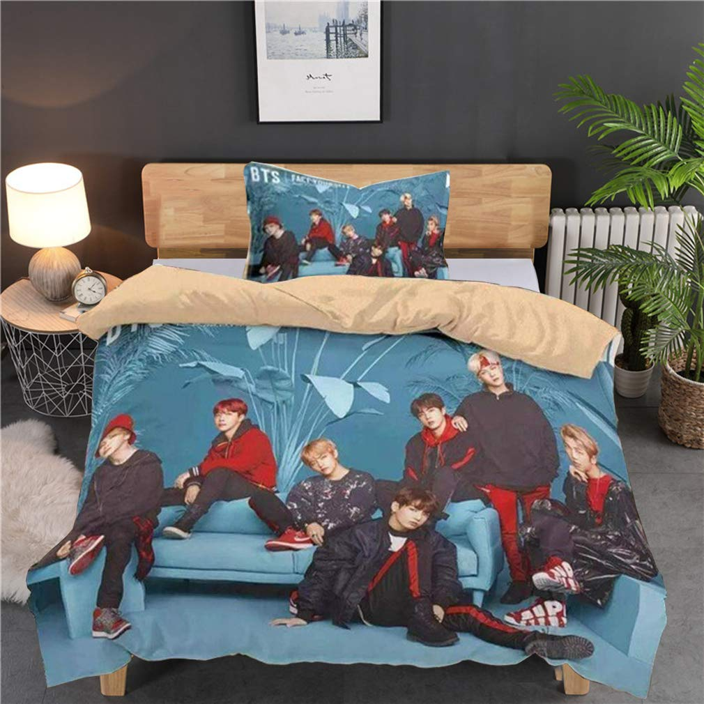 BTS Bedding Set Duvet Cover Set Super Soft and Comfortable 2 Pieces 1 Duvet Cover 1 Pillows for Teenagers Single Bed Youth Student BTS
