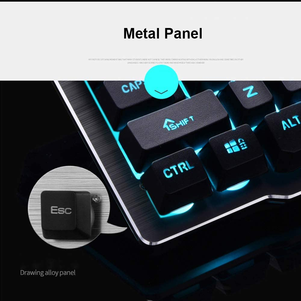 LexonElec Keyboard Mouse Combo 1000mAh Capacidad de Carga Inalámbrica Tecnología 2.4G LED retroiluminado Ergonomic Gamer Keyboard + 1600DPI Ajuste ...