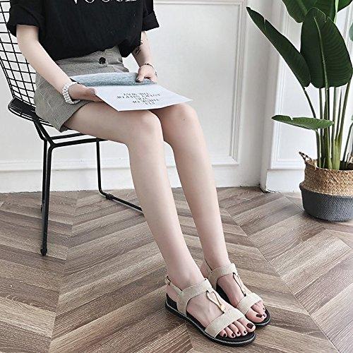 ZHZNVX Damenschuhe Beflockung Komfort im Sommer Sandalen flachem Absatz Absatz Absatz für Schwarz Beige afcf67