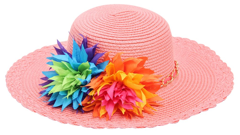 Bienvenu Kids Girls Multi-Colors Large Brim Flower Beach Straw Sun Hats,Pink by Bienvenu