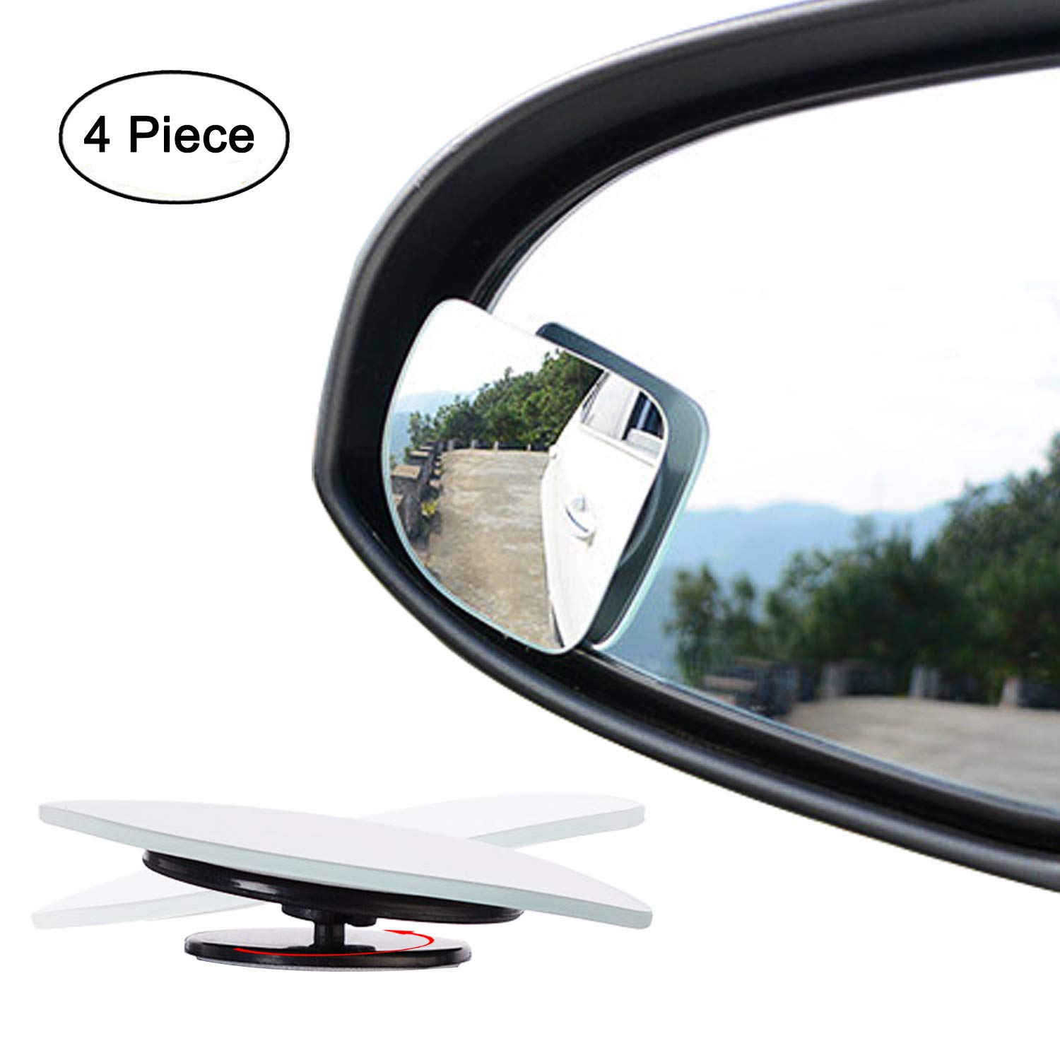 Fan Shape 360 Degree Rotate Sway Adjustabe Blind Spot Mirrors, Ampper HD Glass Convex (Low Curvature) Frameless Stick On Lens (Pack of 2)