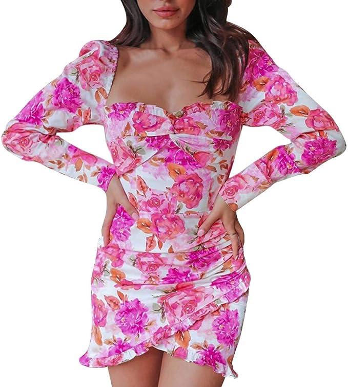 Damen Blumenmuster Ärmellos Minikleid Sommer Strand Rüsche Club Sommerkleid Plus