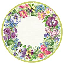 Caspari Entertaining with Spring Garland Salad/Dessert Plates, Purple, 8-Pack
