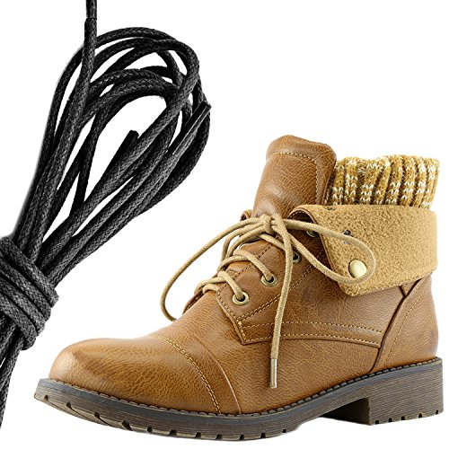 Dailyshoes Womens Boot Style Lace Up Maglione Stivaletto Alla Caviglia Con Taschino Per Porta Carte Di Credito Tasca Porta Soldi, Tan Nero Pu