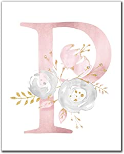 Nursery Wall Art Prints Pink Flowers Letters P Canvas Poster Modern Painting Wall Pictures Nordic Girl Kids Bedroom Decor 20x30cm Frameless