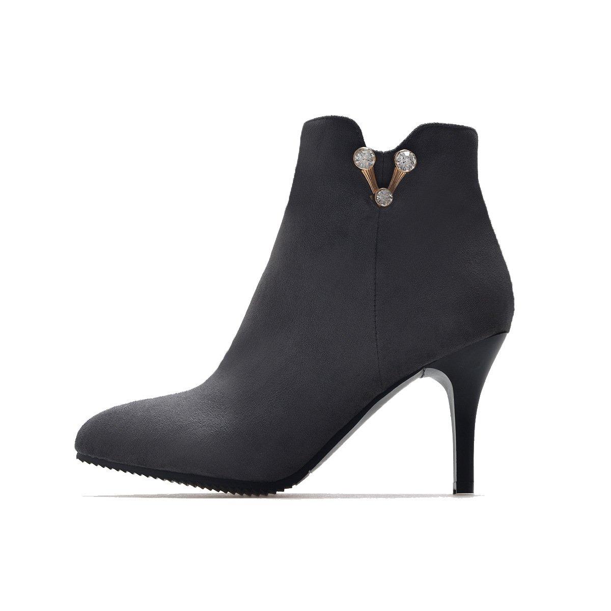 DYF Schuhe Schuhe Schuhe Kurze Stiefel Fein High Heel Scharfe Farbe Strass Groß, Grau, 36 6edd90