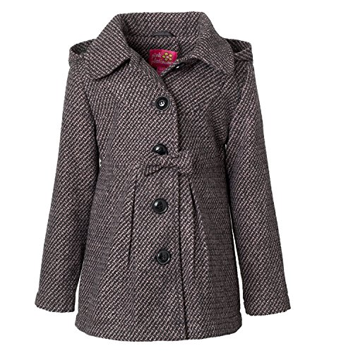 Pink Platinum Textured Wool Coat For Girls, Babies & Toddlers With (Textured Wool Coat)