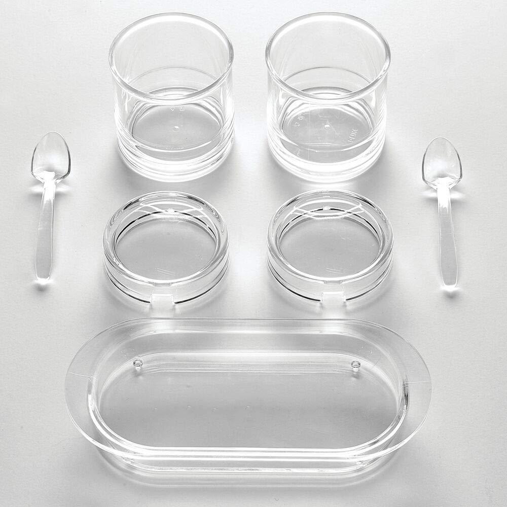 2 botes de pl/ástico con tapa y cuchara para condimentos mDesign Organizador de especias con bandeja transparente Estante especiero para cocina y comedor hierbas az/úcar y m/ás