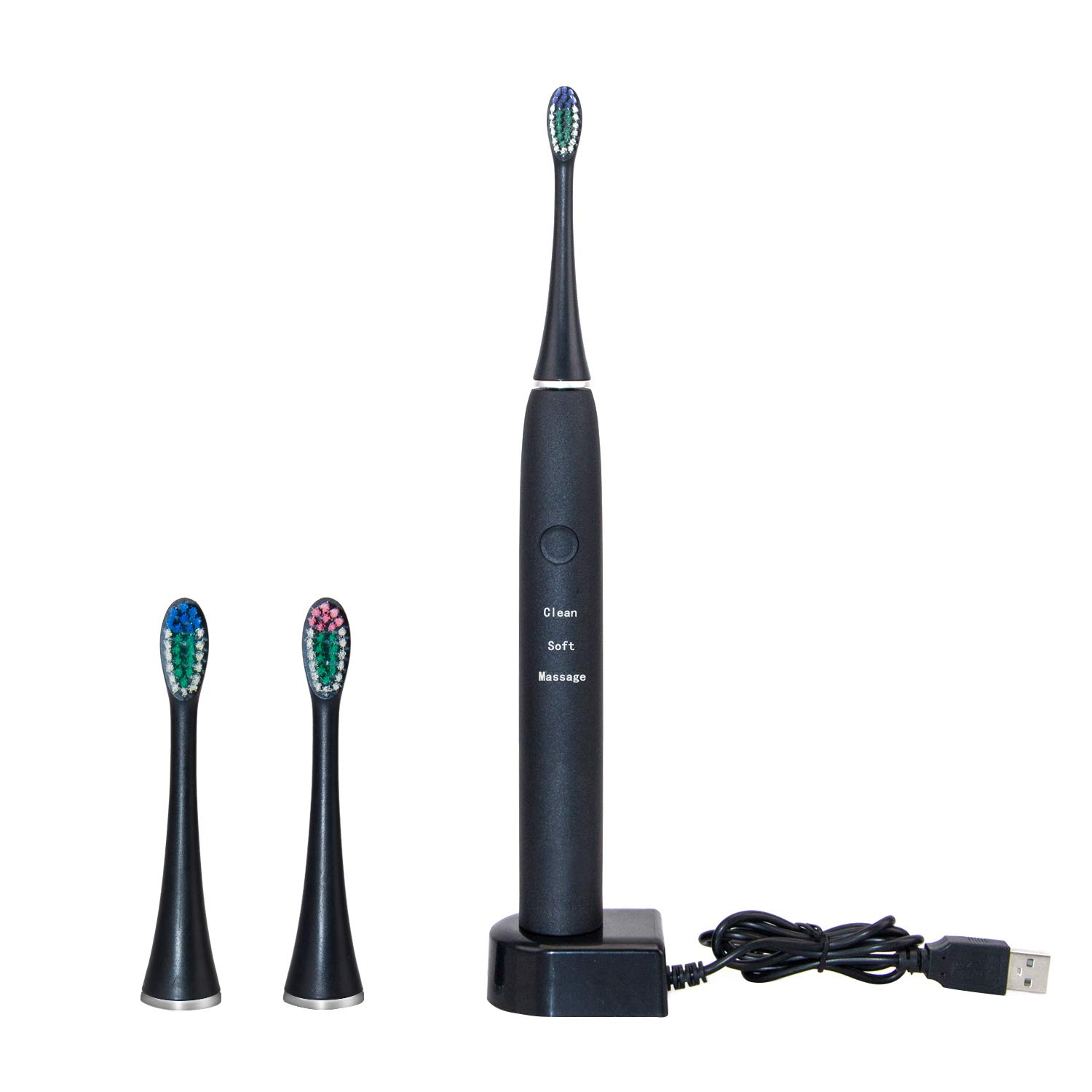 Sonic Electric Toothbrush Rechargeable For Adults-3 Modes 2 Minutes with Smart Timers – Travel Toothbrush with 3 Brush Heads,IPX7 Waterproof with USB Wireless Charging Base Holder
