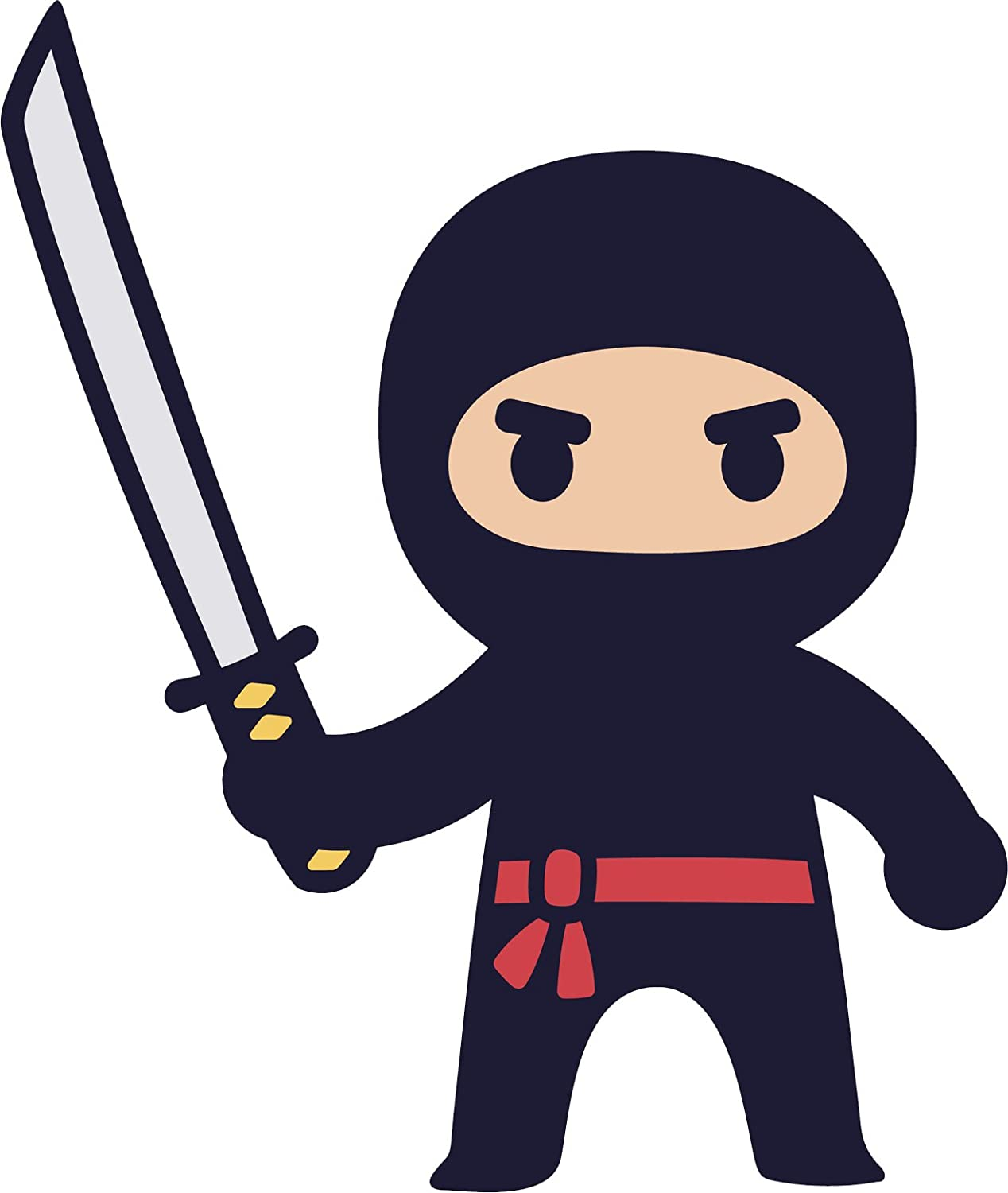 Divine Designs Adorable Kawaii Japanese Kid Ninja Cartoon Icon Vinyl Decal Sticker (12