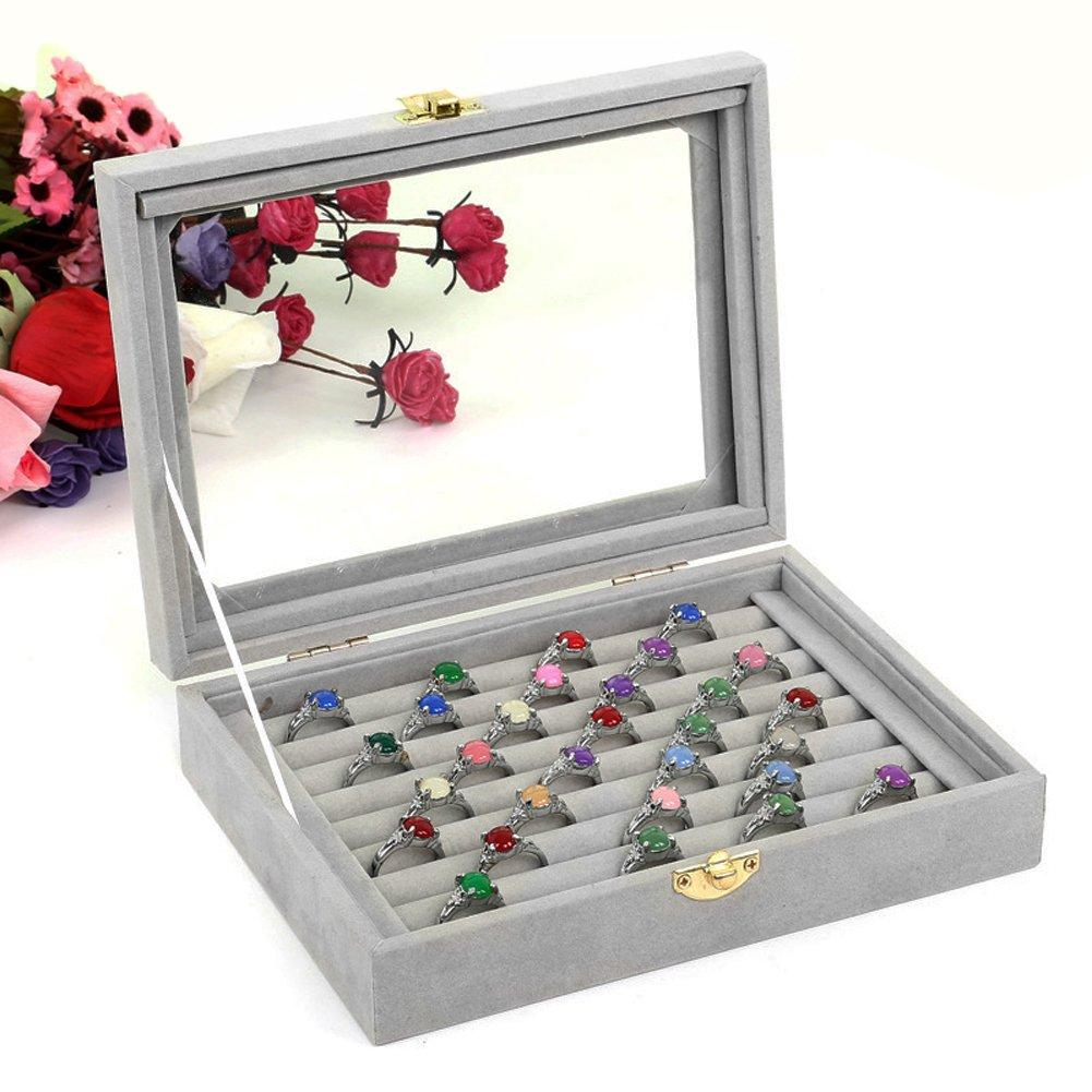 VELVET GLASS RING DISPLAY Box Jewelry Holder Storage Organizer Case