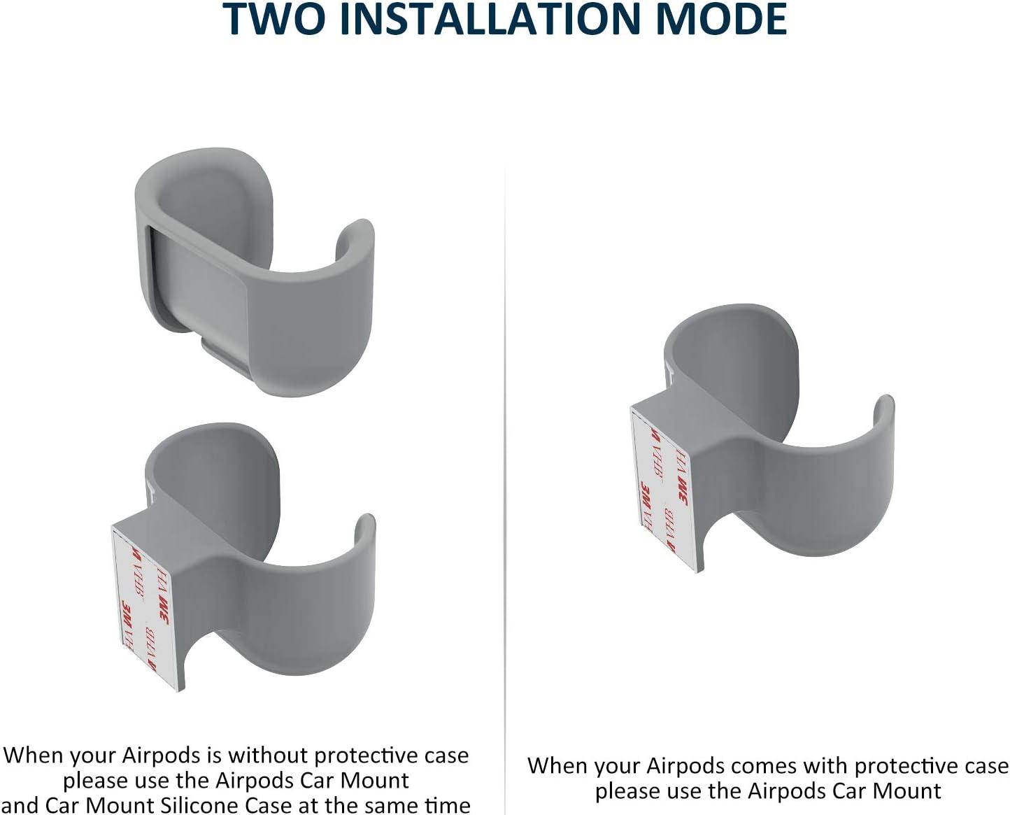 Grigio Scuro KIWI design Supporto AirPods per Auto AirPods Non Incluso Accessori Pratici per lUtilizzo di AirPods e AirPods 2a Generazione in Auto