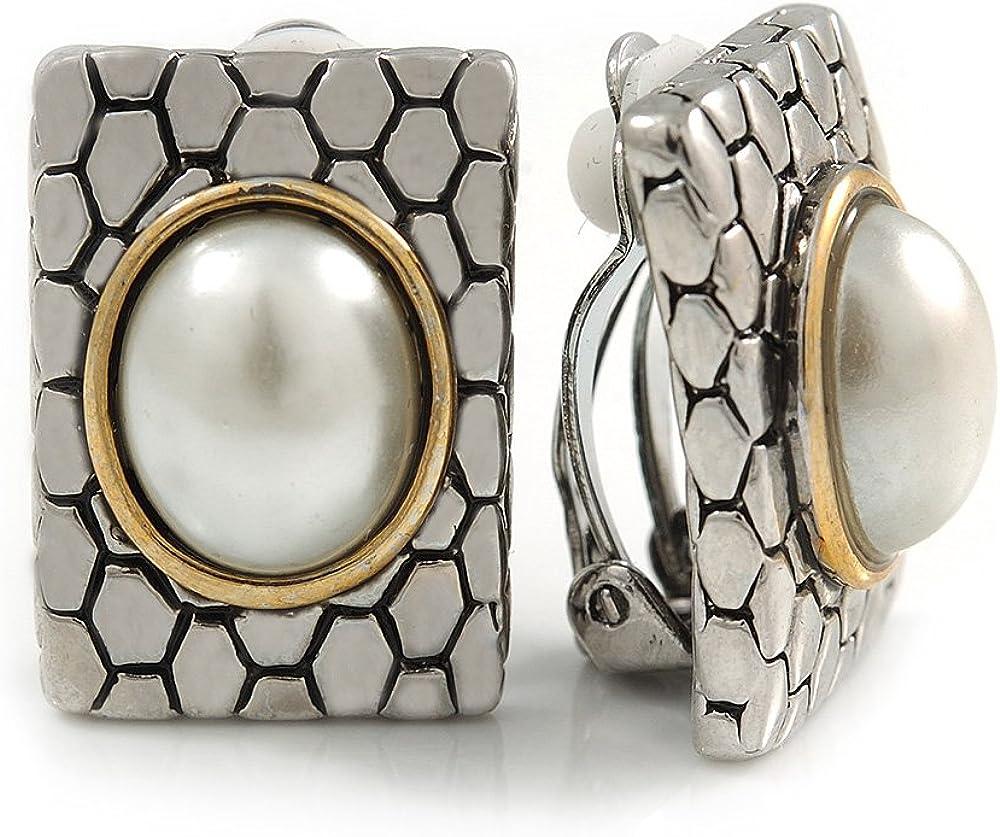 Pendientes de clip de perlas de imitación cuadradas de inspiración vintage, tono plateado/dorado – 23 mm de largo