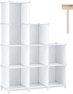 Puroma Cube Storage Organizer 9-Cube Closet Storage Shelves with Rubber Hammer DIY Closet Cabinet Bookshelf Plastic Square Organizer Shelving for Home, Office, Bedroom - White