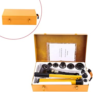 6 Dies 10Ton Hydraulic Punch Tool Manual Knockout Punch Set 22MM to 60MM with Carrying Case Knockout Punch Set