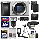 Sony Alpha A6300 4K Wi-Fi Digital Camera Body (Silver) with 64GB Card + Case + Flash + LED Video Light + Mic + Battery & Charger + Tripod + Kit