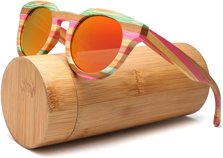 Sunglasses Wood Bamboo Sunglasses Cat Eye Polarized Round Frame Vintage Fashion Classic Large Frame Sunglasses For Women Men JFYCUICAN Color : Pink, Size : Free