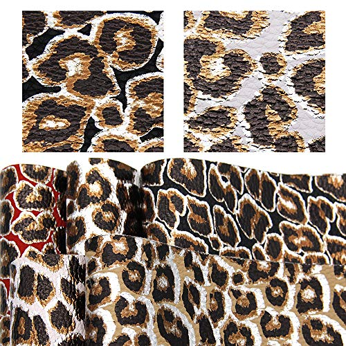 David accessories Metallic Leopard Printed Faux Leather Fabric Sheet Gold Foil Litchi Pattern 5 Pcs 8