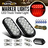 Partsam Submersible LED Trailer Light kit, 6'' Oval Clear/Red 10LED Stop Turn Tail Brake Lights, 6Pcs 2.57'' Mini Oval Led Marker Clearance Lights, License Plate Lamp 6-3528-LED, 4-way Wire Harness