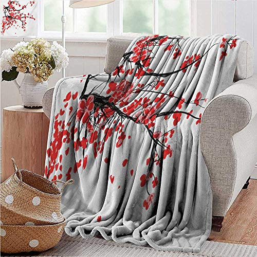 (Blankets Fleece Blanket Throw,Floral,Japanese Cherry Blossom Sakura Blooms Branch Spring Inspirations Print,Vermilion Brown White,300GSM,Super Soft and Warm,Durable Throw Blanket 50