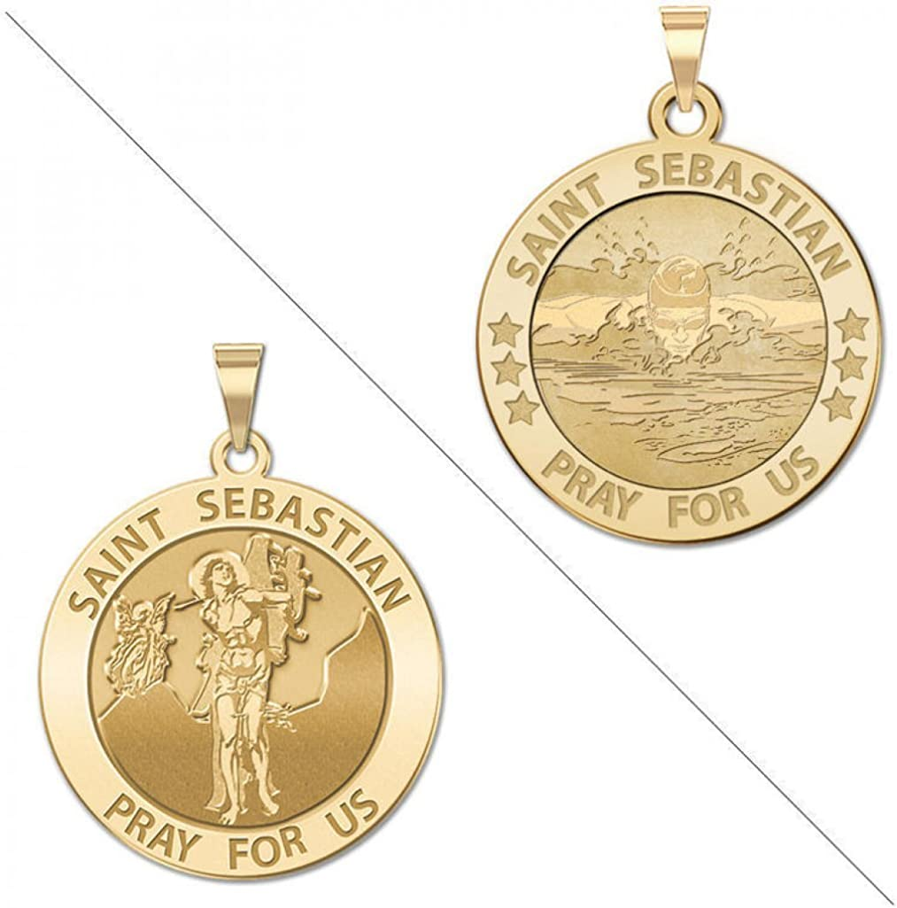 Saint Sebastian Doubledside Sports Religious Medal 1 Inch in Sterling Silver PicturesOnGold.com Male Swimmers