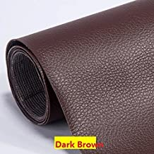 """Self Adhesive Leather PU Fabric Repairing Patches for Sofa, For Car Seats, For Clothing (width 19.6"""" x Length 53.9"""") (Dark Brown)"""