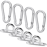 Cerixo 8Pcs Stainless Steel Oblong Pad Eye Plates and Carabiner Clips Heavy Duty for Climbing Sport and Home use