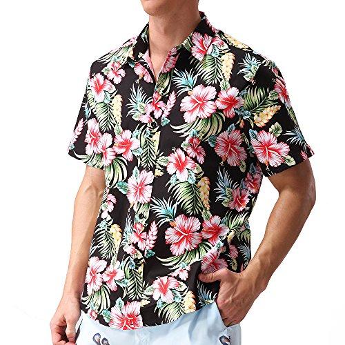 Hopioneer Men's Aloha Shirts - Short Sleeve Button Down Brushed Hawaiian Shirt with Floral Print ()