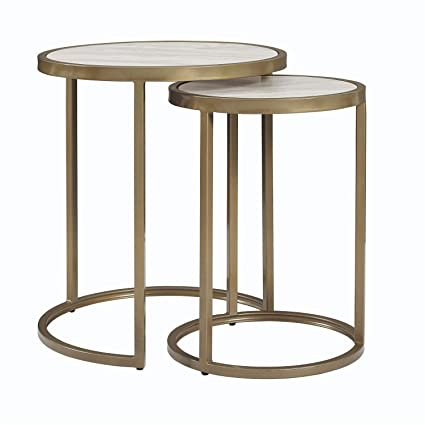 Amazon Com Faux Marble Top Nesting Tables Set Of 2 Side Coffee