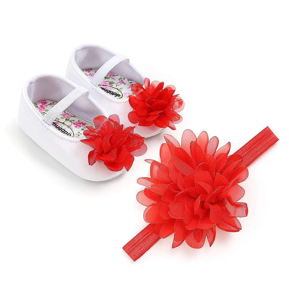 EDOTON Baby M/ädchen Blume Schuhe Haarband Set Kleinkind Anti-Rutsch-Weiche Lauflernschuhe Besondere Anl/ässe Taufe Hochzeit Party Schuhe