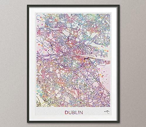 Dublín Mapa de la ciudad impresión Watercolor Art Print Wall Art ...