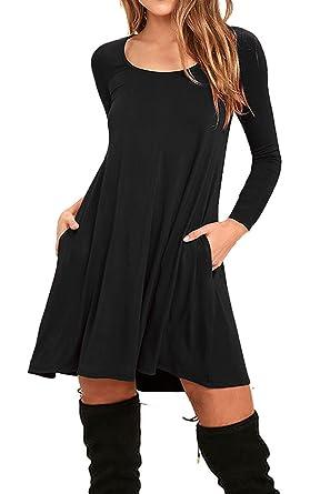 AUSELILY Women's Long Sleeve Pockets Casual Swing T-Shirt Dresses ...