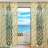 SEULIFE Window Sheer Curtain, Pineapple Pattern Vintage Voile Curtain Drapes for Door Kitchen Living Room Bedroom 55x78 inches 2 Panels