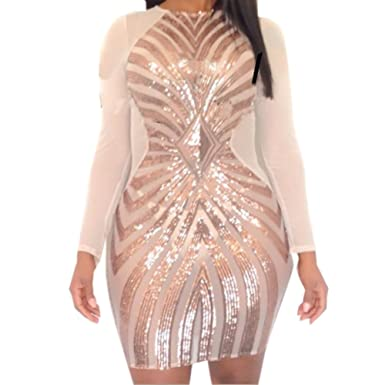 Amazon Pinda Pins Sexy Rose Gold Plus Size Bodycon Dress Women