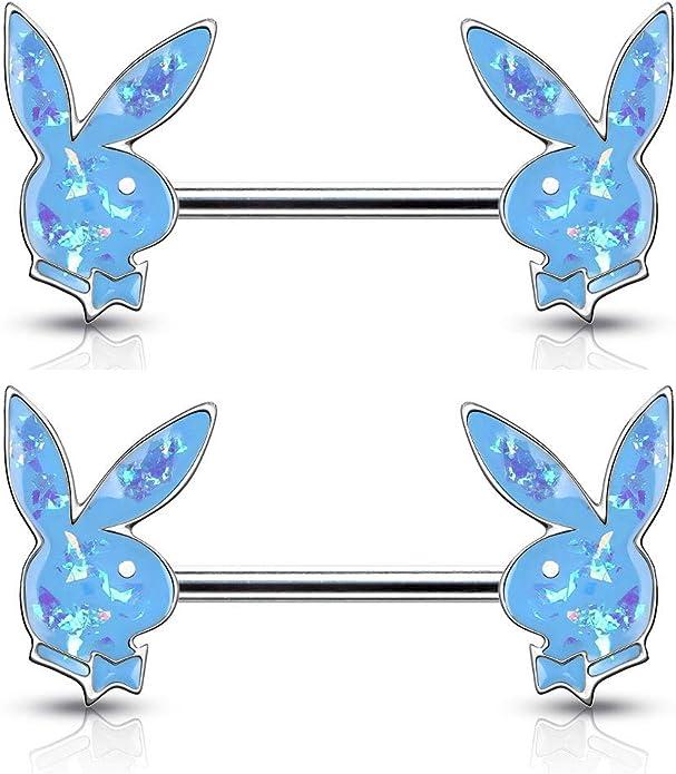 Sold as a Pair Pierced Owl Playboy Bunny Inlaid Steel Barbell Nipple Rings