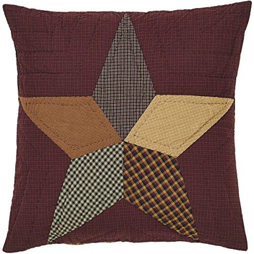 VHC Brands Primitive Bedding - Folkways Star Red Quilted Euro Sham
