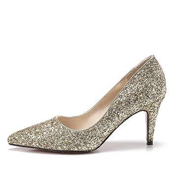 MUYII Frauen Cinderella Kristall High Heels Braut Hochzeit Schuhe Feine Stiletto Glitter SandalenGold-7.5CM-33