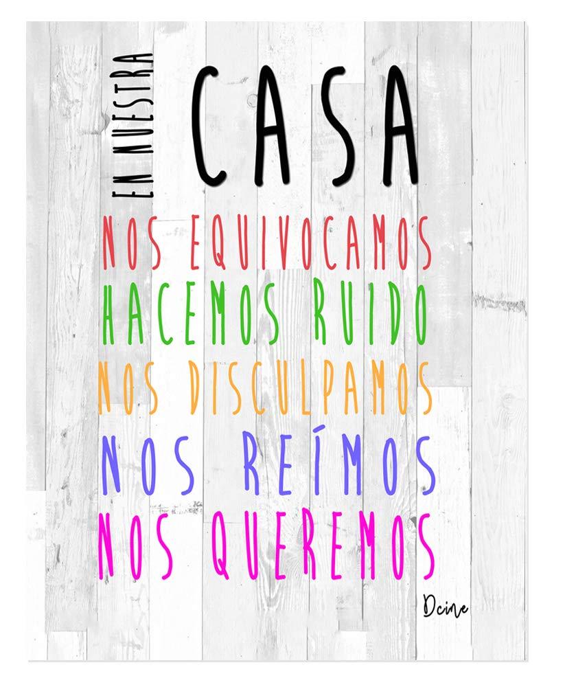 DCine Cuadro Frases/Frases positivas/Cuadro Madera/Regalo/Normas del hogar/Normas de la casa/Carteles Vintage/ 19 cm x 25 cm x 4 mm/ (EN Nuestra CASA)